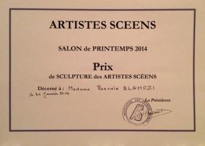 Prix de sculpture 2014 décerné à Pascale Elghozi – les artistes scéens