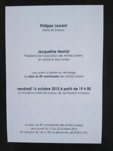 40è salon des artistes scéens - du 15 au 25 octobre 2015 à Sceaux