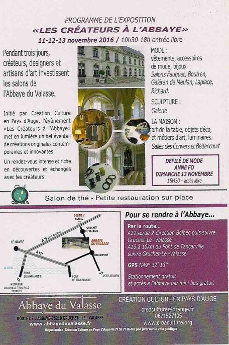 Dépliant de l'Abbaye du Valasse - verso et infos pratiques