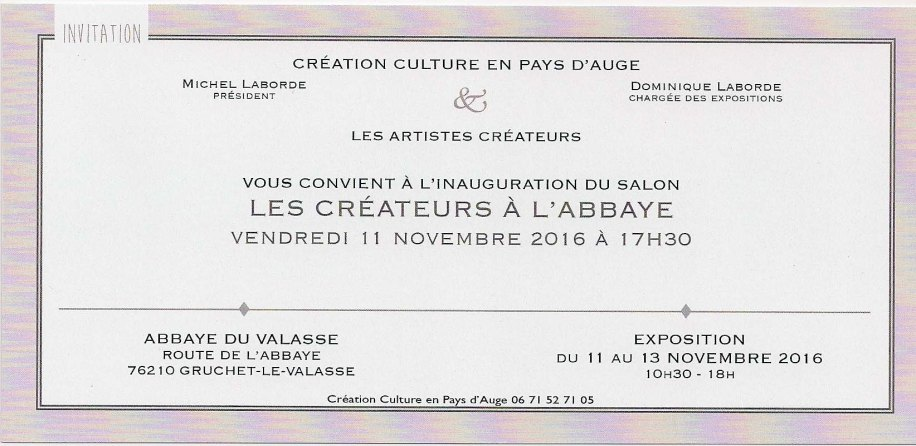 Expo-vente à l'Abbaye du Valasse - invitation